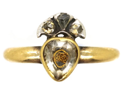 18ct Gold Stuart Heart & Crown Rock Crystal Ring