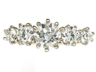 18ct Gold & Platinum, Diamond Five Stone Ring