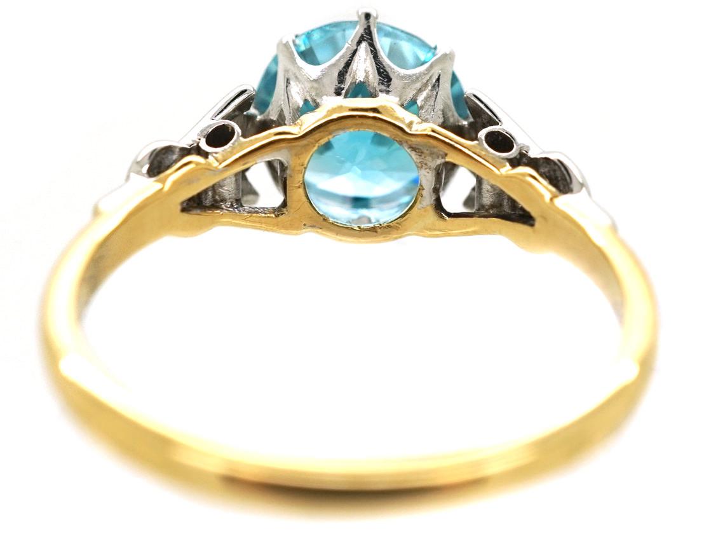 Art Deco 18ct Gold, Platinum, Zircon & Diamond Ring