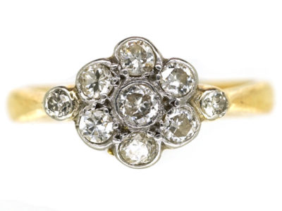 Edwardian 18ct Gold & Platinum, Diamond Cluster Ring With Diamond Shoulders