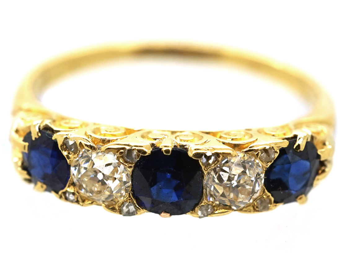 Victorian 18ct Gold, Diamond & Sapphire Carved Half Hoop Ring