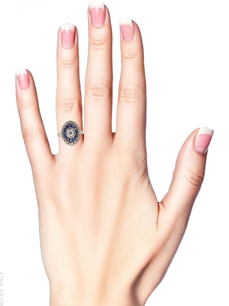 Art Deco Oval Sapphire & Diamond Cluster Ring