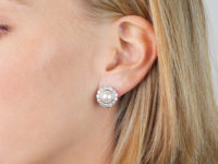 18ct White Gold Diamond & Pearl Cluster Earrings