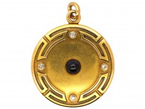 Art Deco 18ct Gold Round Locket Set With Sapphire & Diamonds