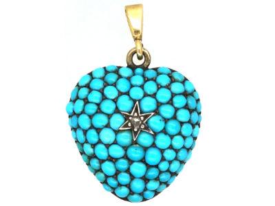 Victorian 15ct Gold Turquoise & Diamond Pave Set Heart Pendant