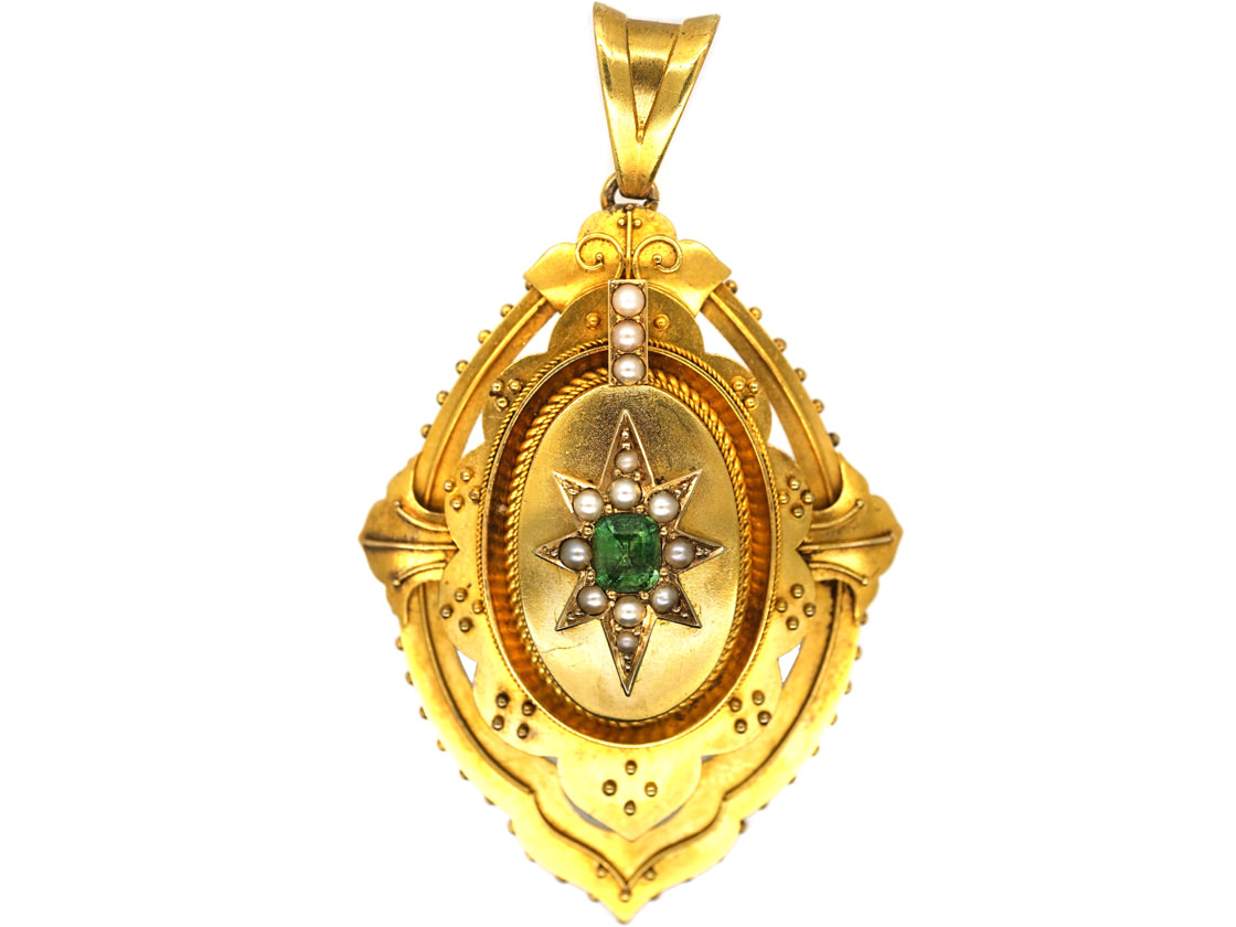 Victorian 15ct Gold Emerald & Natural Split Pearl Pendant With Star Motif