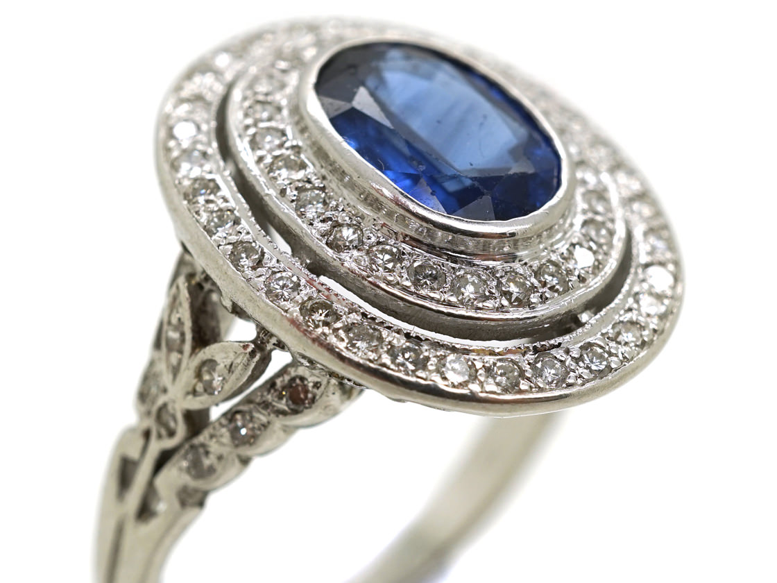 18ct White Gold Sapphire & Diamond Double Cluster Ring