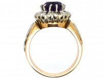 18ct Gold Amethyst & Diamond Ring With Owl & Flame Motif