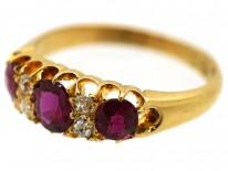 Edwardian 18ct Gold, Three Stone Ruby & Diamond Ring