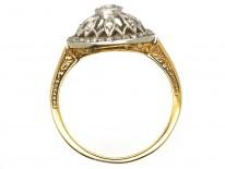 Edwardian 18ct Gold, Platinum & Diamond Cluster Ring