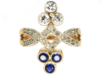 Art Nouveau 14ct Gold & Platinum, Diamond & Sapphire Ring