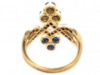 Art Nouveau 14ct Gold & Platinum, Diamond & Sapphire Ring