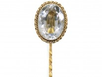 Victorian 15ct Gold, Oval Pale Aquamarine Tie Pin