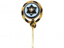 Victorian 18ct Gold, Banded Onyx , Platted Hair & Rose Diamond Tie Pin
