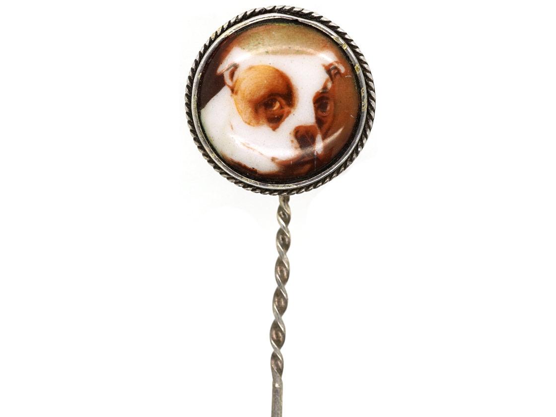 Silver & Enamel Tie Pin of a Bulldog