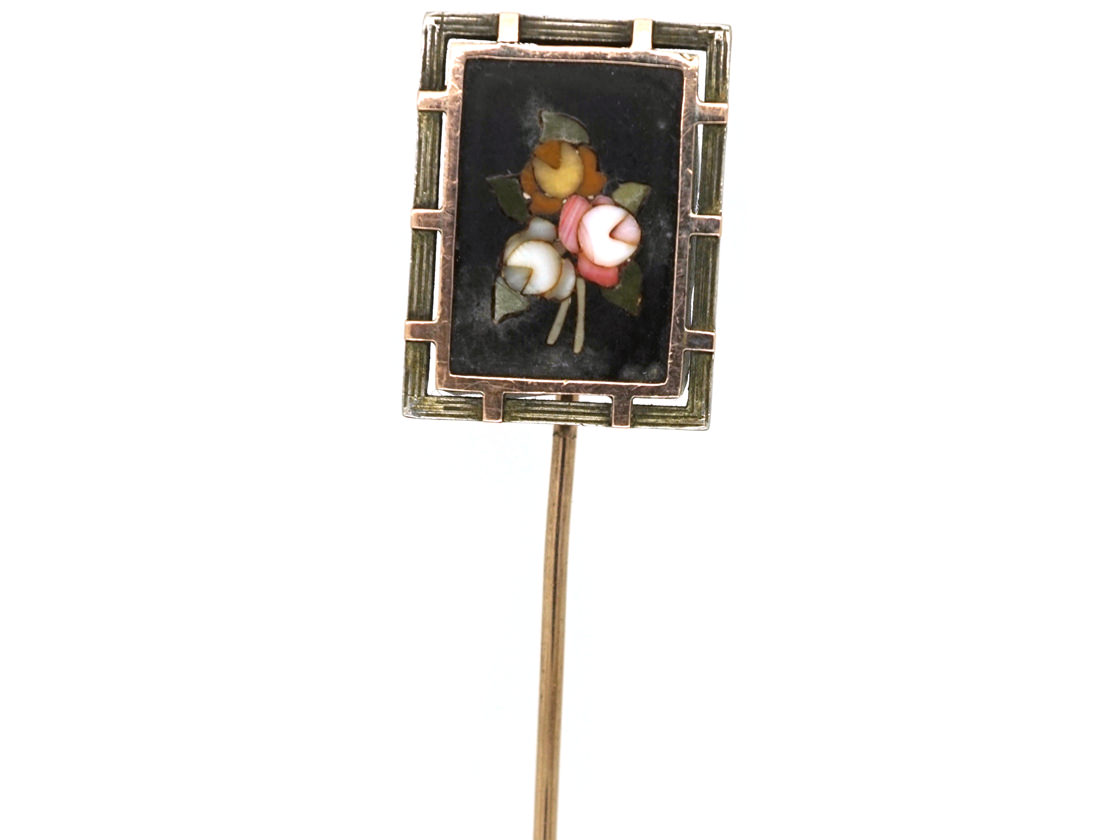 Victorian Silver & Gold Pietra Dura Tie Pin With Flowers Motif
