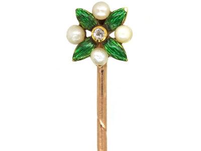Edwardian 15ct Gold, Enamel & Natural Pearl Tie Pin