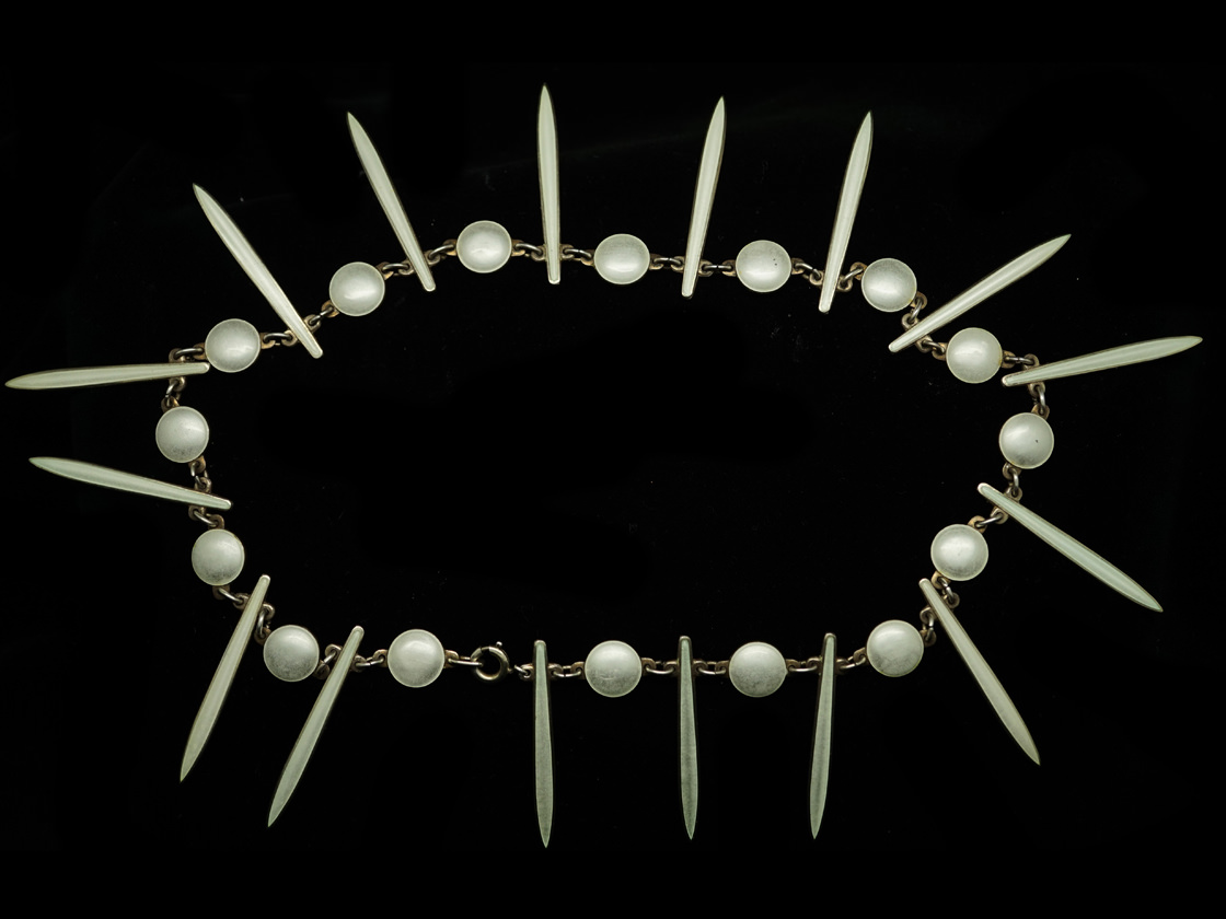 Silver & White Enamel Icicle Necklace by David Anderson