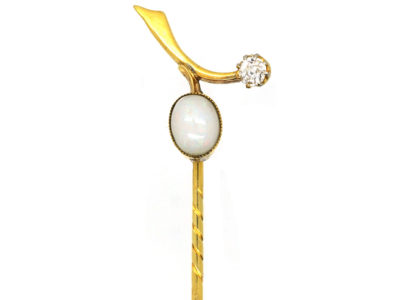 Edwardian 18ct Gold, Opal & Diamond Sprig Tie Pin