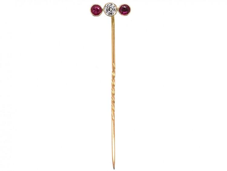 Edwardian 15ct Gold, Three Stone Ruby & Diamond Tie Pin