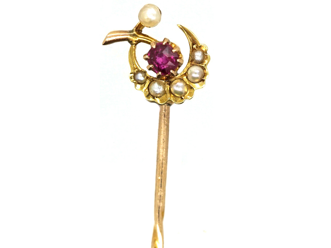 Edwardian 15ct Gold, Ruby & Natural Split Pearl Harvest Moon Tie Pin
