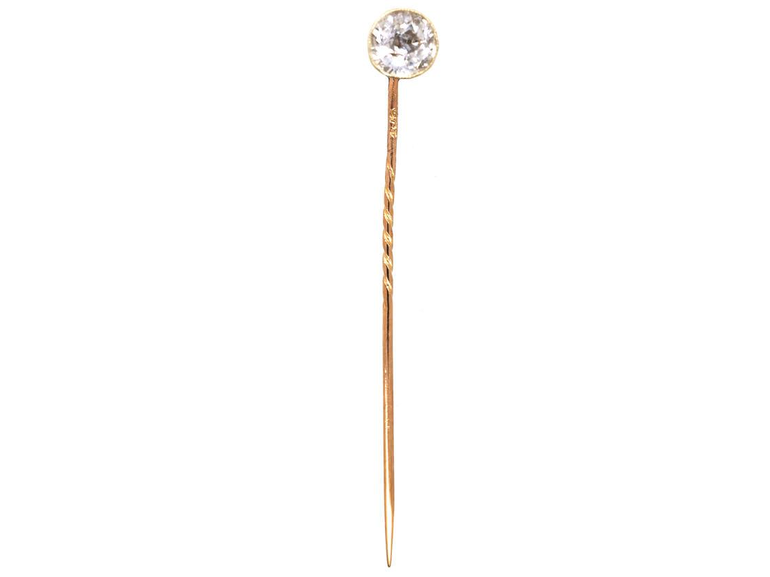 Edwardian 9ct Gold & Rock Crystal Tie Pin