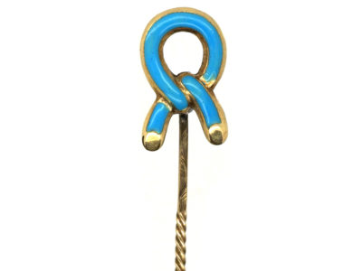 Victorian Tie The Knot Blue Enamel & 15ct Gold Tie Pin