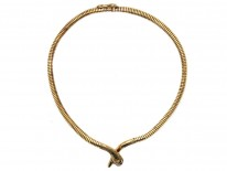 9ct Gold Snake Necklace With Ruby Eyes