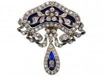 Edwardian Silver, Blue Glass & Paste Flower Brooch