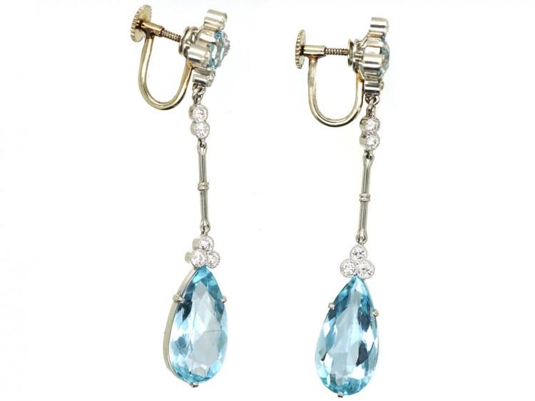 Art Deco 14ct Gold Long Drop Aquamarine & Diamond Earrings