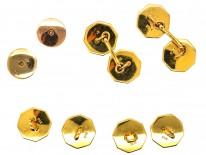 Edwardian 9ct Gold & Mother of Pearl Dress Set in Original Case