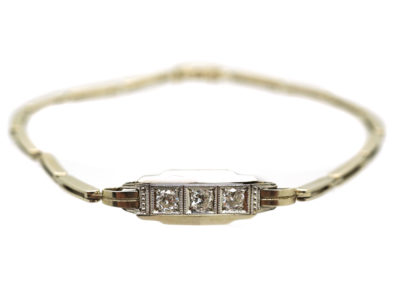 Art Deco 14ct White Gold & Diamond Bracelet