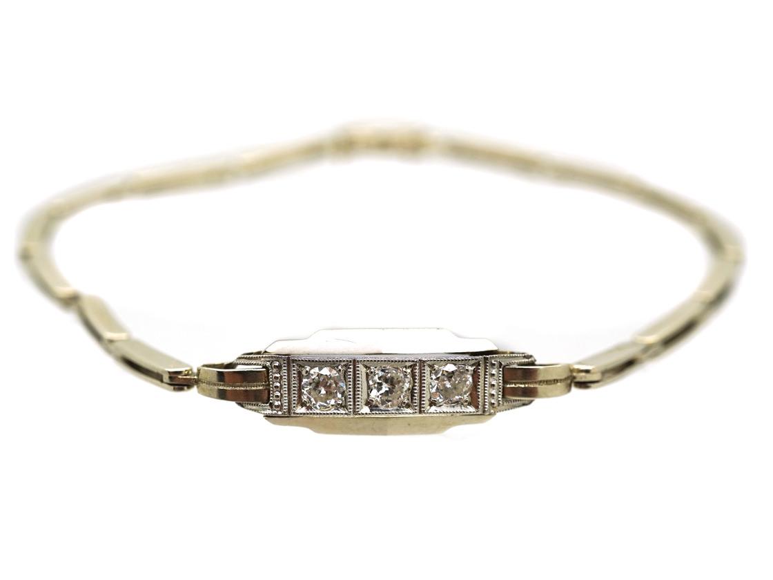 Art Deco 14ct White Gold & Diamond Bracelet