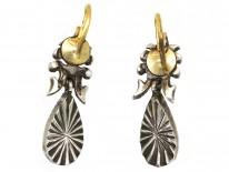 Edwardian Silver, Blue Glass & Paste Drop Flower & Bow Motif Earrings