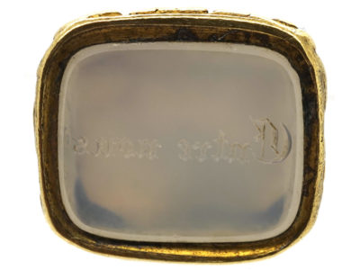 Georgian 18ct Gold Cased Seal With Grey Chalcedony Base With 'Entre Nous' Engraved