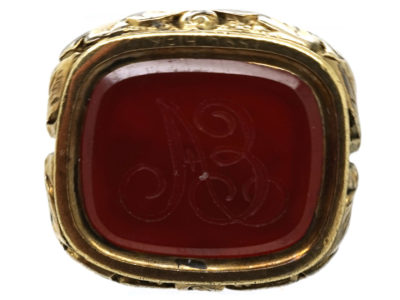 Georgian Gold Cased Seal With a Carnelian Base With Monogram A E