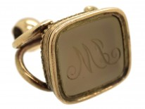 Georgian Gold Cased Seal With Grey Chalcedony Base with M L Monogram