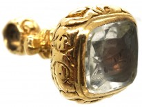 Georgian 18ct Gold Cased Seal With Rock Crystal Base With Dog & Pheasant Intaglio