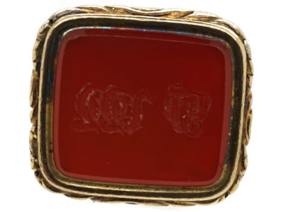 Georgian 18ct Gold Cased Seal With Carnelian Base With Monogram J W W