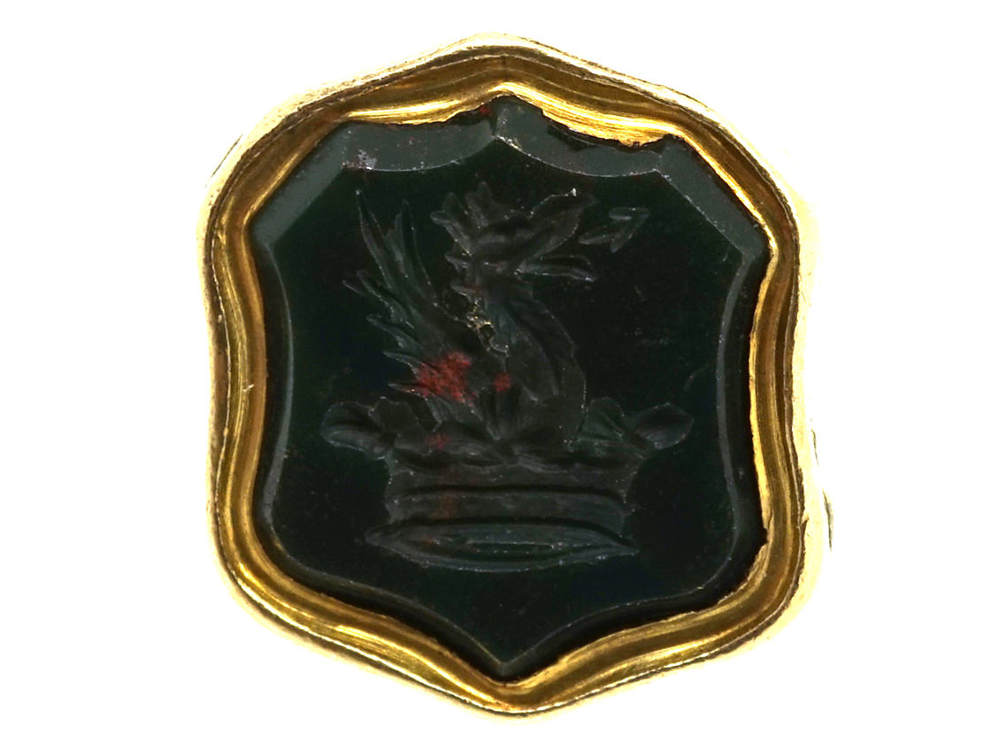 Victorian Gold Cased Small Seal With Bloodstone Base With Griffin & Crown Intaglio
