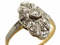 Art Deco 18ct Gold, Platinum & Diamond Marquise Shaped Ring