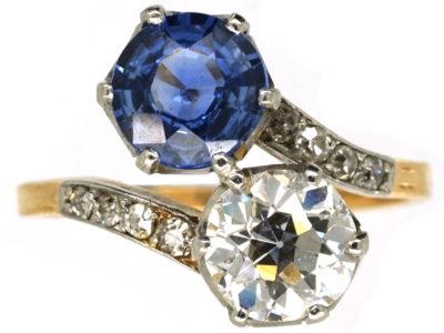 Art Deco 18ct Gold, Platinum, Sapphire & Diamond Crossover Ring