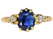 Edwardian 18ct Gold, Burma Sapphire & Diamond Ring
