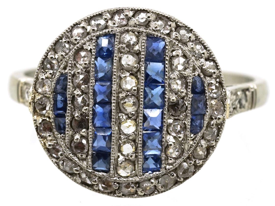 Art Deco 18ct Gold & Platinum, Sapphire & Rose Diamond Ring