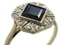 Art Deco Octagonal Shaped Sapphire & Rose Diamond Ring