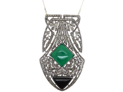 Large Art Deco Silver, Onyx, Chalcedony & Marcasite Pendant on a Silver Chain
