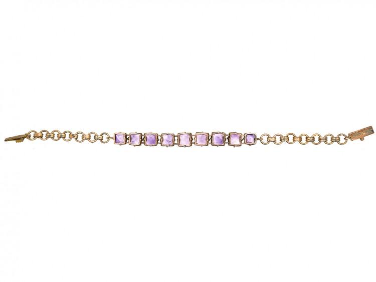 9ct Gold & Amethyst Nine Stone Bracelet