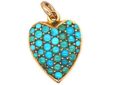 Edwardian 15ct  gold & Turquoise Heart Pendant