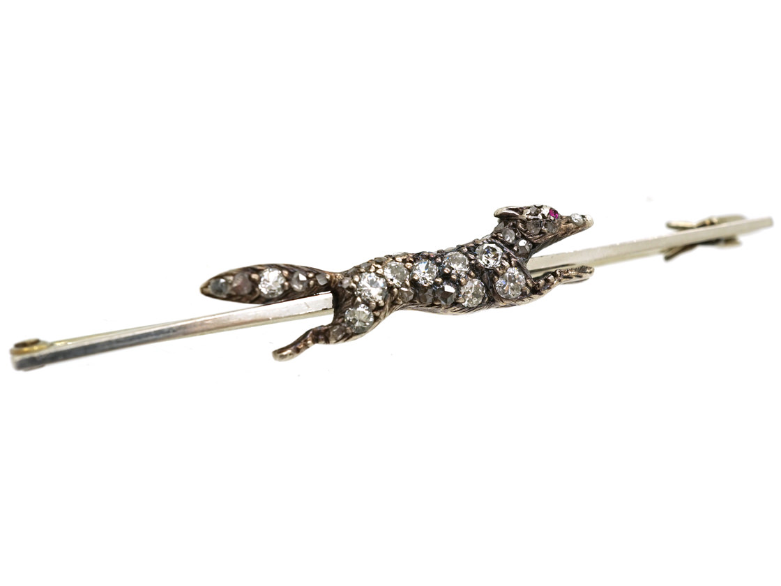 Edwardian Diamond Set Running Fox Brooch
