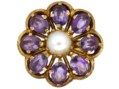 Large 9ct Gold, Amethyst & Pearl Ring